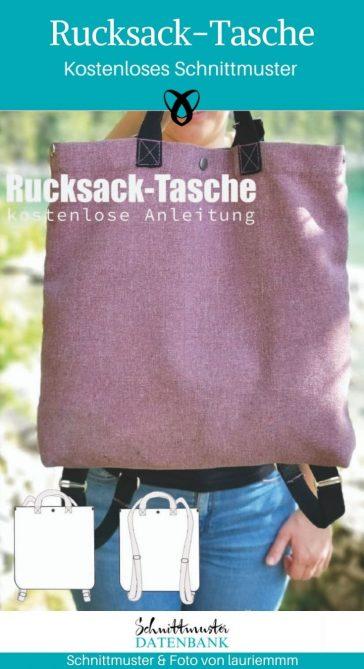 Rucksack Tasche Bagpack Beuteltasche kostenlose Schnittmuster Gratis-Nähanleitung