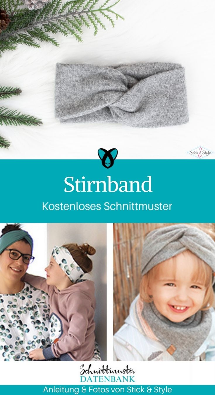 Stirnband verdreht für Kinder für Erwachsene kostenlose Schnittmuster Gratis-Nähanleitung