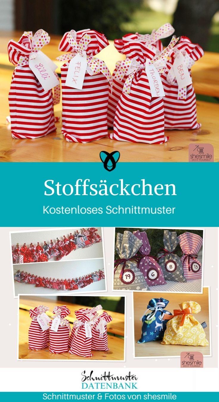 Stoffsäckchen Adventskalender Advent Weihnachten Geschenke verpacken kostenlose Schnittmuster Gratis-Nähanleitung