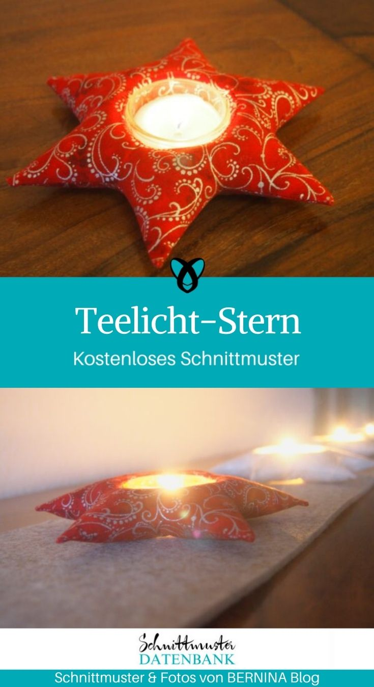 Teelicht-Stern Weihnachtsdeko Weihnachten kostenlose Schnittmuster Gratis-Nähanleitung kleine Geschenke