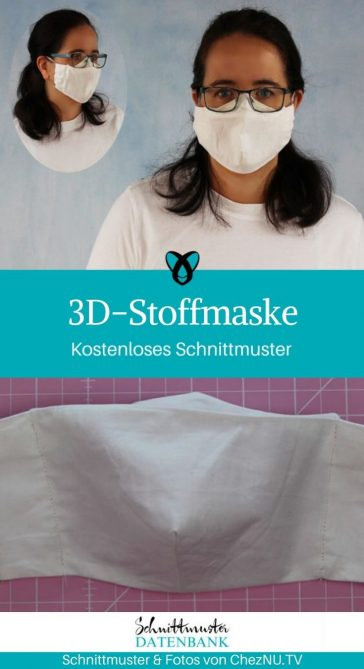 3D Stoffmaske Mund-Nasen-schutz Corona Maske selber nähen kostenlose Schnittmuster Gratis-Nähanleitung
