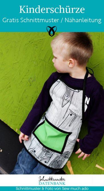 Kinderschürze Nähen für Kinder Kinderküche kostenlose Schnittmuster Gratis-Nähanleitung