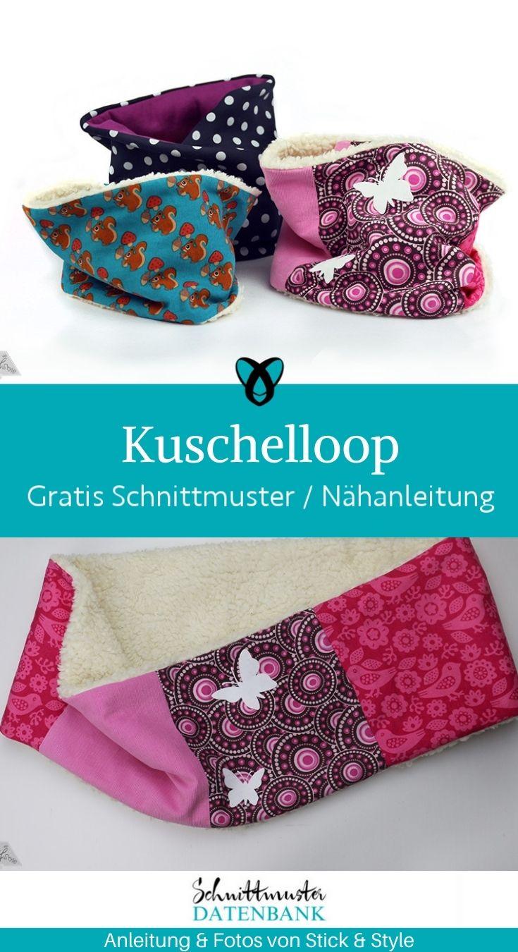 Kuschelloop Loop für Kinder Halstuch Schal Winter kostenlose Schnittmuster Gratis-Nähanleitung