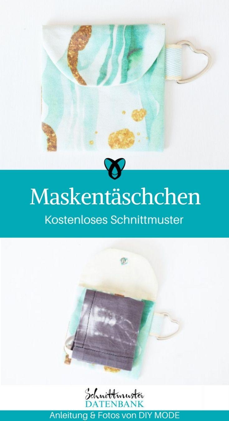 Maskentaeschchen Maskentasche Maske Aufbewahrung Mund-Nasen-Schutz Mundschutz kostenlose Schnittmuster Gratis Nähanleitung