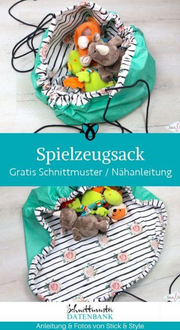 Spielzeugsack Nähen für Kinder Kinderzimmer Ordnung kostenlose Schnittmuster Gratis-Nähanleitung