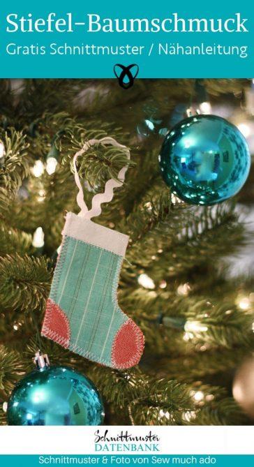 Stiefel-Baumschmuck Weihnachten Dekorieren Weihnachtsdeko kostenlose Schnittmuster Gratis-Nähanleitung