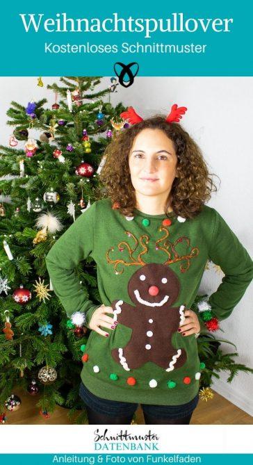 Weihnachtspullover Upcycling Pullover Weihnachten kostenlose Schnittmuster Gratis-Naehanleitung