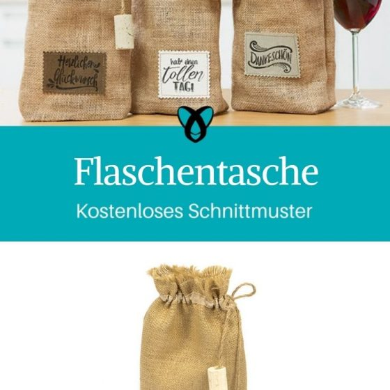 Flaschentasche Geschenkverpackung selber nähen Jute Rupfen kostenlose Schnittmuster Gratis-Nähanleitung
