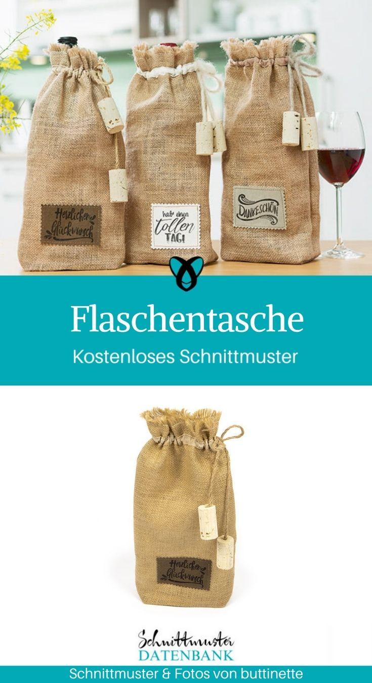 Flaschentasche Geschenkverpackung selber nähen Jute Rupfen kostenlose Schnittmuster Gratis Nähanleitung