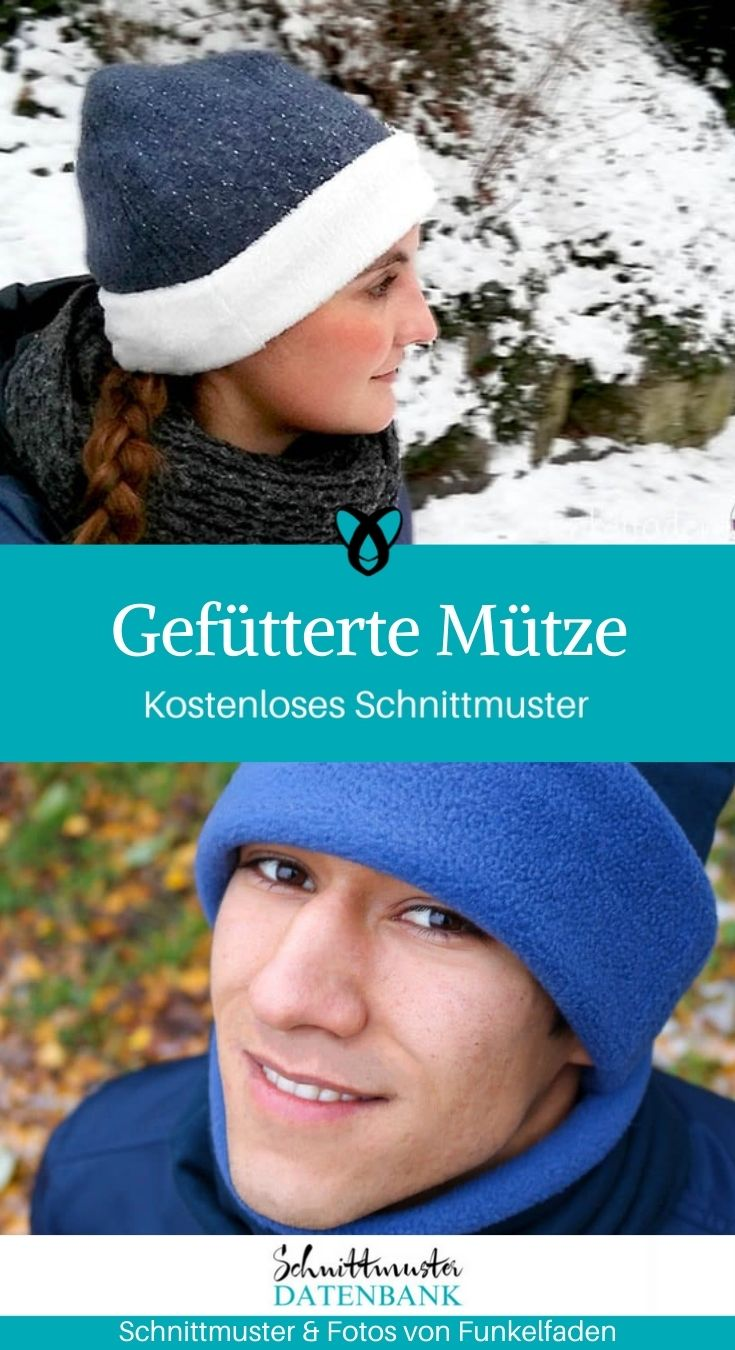 gefuetterte Muetze, Wintermuetze, Muetze, Erwachsene, Accessoires, kostenlose Schnittmuster, Gratis-Naehanleitung