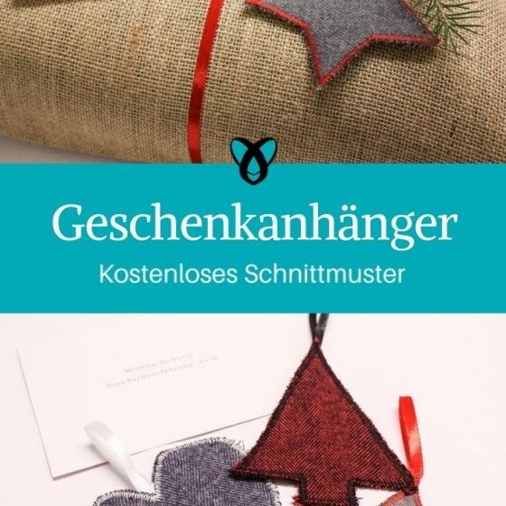 Geschenkanhänger Stoffreste Weihnachten Verpackung Geschenke kostenlose Schnittmuster gratis Nähanleitung