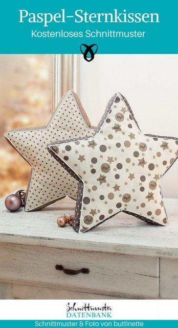 Paspel-Sternkissen Kissen mit Paspel Weihnachtsdekoration Weihnachten kostenlose Schnittmuster Gratis-Nähanleitung