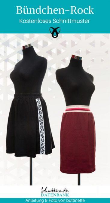 Buendchen-Rock Naehen fuer Frauen Damenrock Damenbekleidung kostenlose Schnittmuster Gratis-Naehanleitung