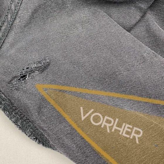 Hose Flicken Jeans reparieren Upcycling nicht wegwerfen Nachhaltigkeit kostenlose Schnittmuster Gratis-Nähanleitung