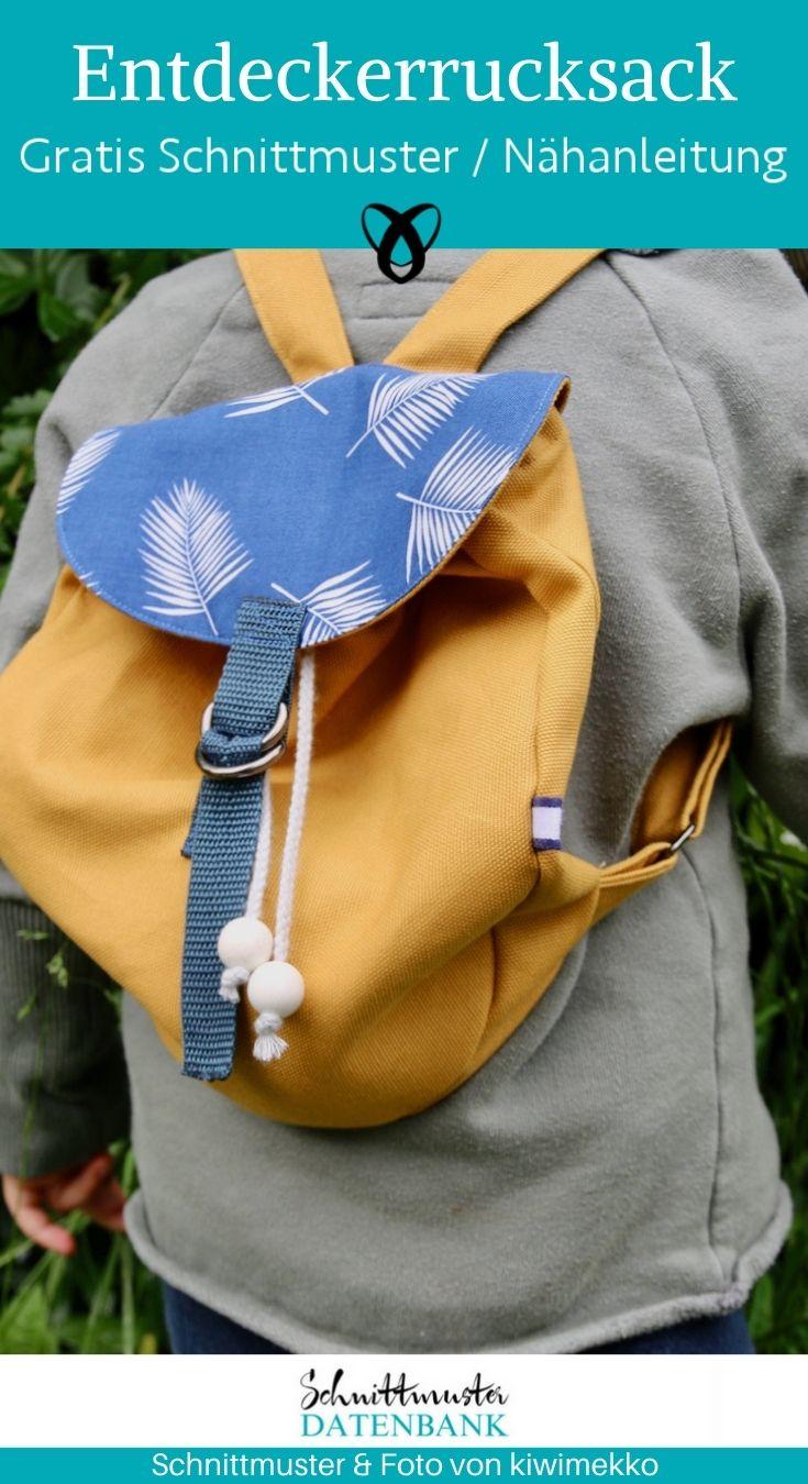 Kinderrucksack Entdecker Taschen für Kinder Nähen für Kinder kostenlose Schnittmuster Gratis-Nähanleitung