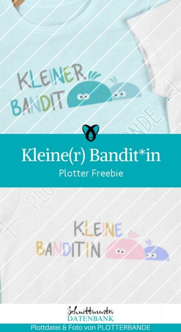 Plotter-Freebie Kleiner Bandit Kleine Banditin fuer Kinder kostenlose Schnittmuster Gratis-Naehanleitung