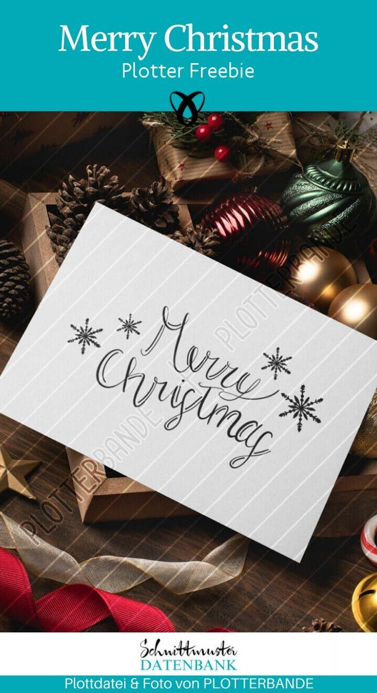 Plotter-Freebie Merry Christmas Frohe weihnachten kostenlose Schnittmuster Gratis-Naehanleitung