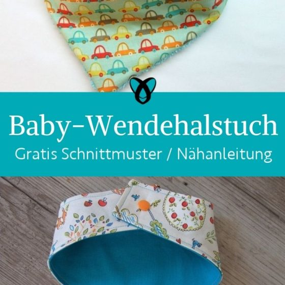 Baby Wendelhalstuch Halssocke Schal Accessoires Erstausstattung kostenlose Schnittmuster Gratis-Nähanleitung