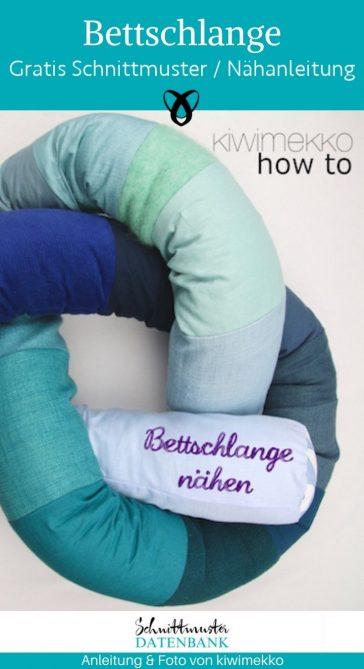 Bettschlange nähen Bettumrandund für Kinder Schlafen weiches Bett Kinderzimmer Babybett kostenlose Schnittmuster Gratis-Nähanleitung