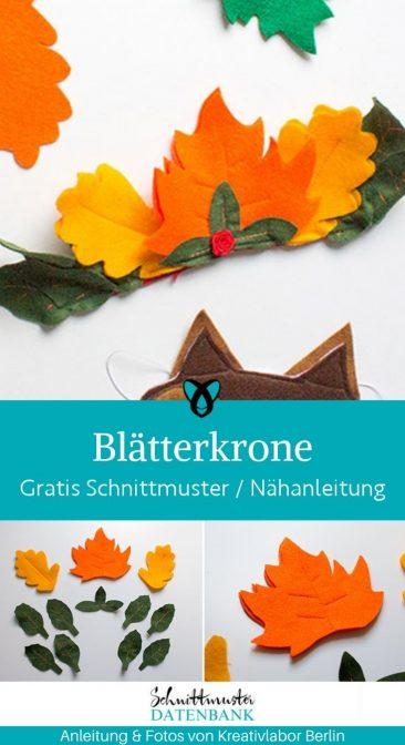 Blätterkrone Waldfee Verkleiden Fasching Kinder kostenlose Schnittmuster Gratis-Nähanleitung