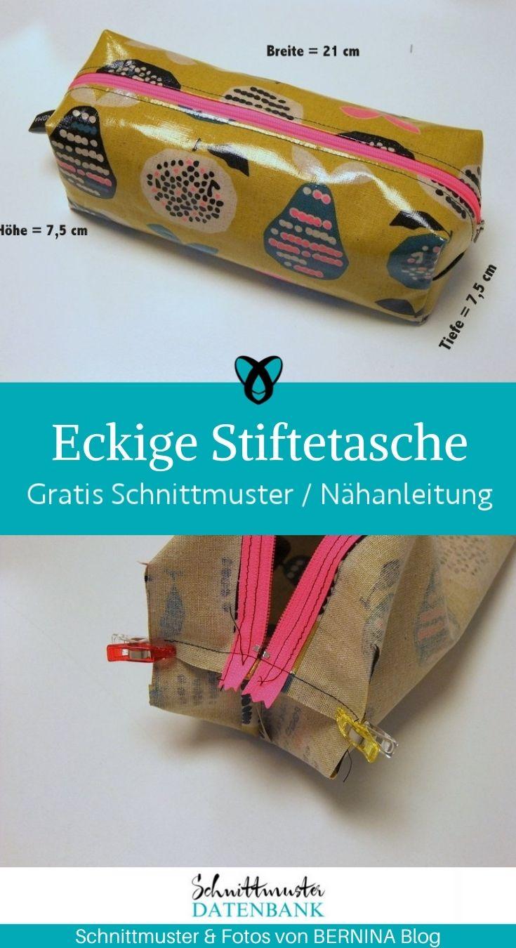 Eckige Reißverschlusstasche Stiteetui Täschchen Federmäppchen kostenlose Schnittmuster Gratis-Nähanleitung