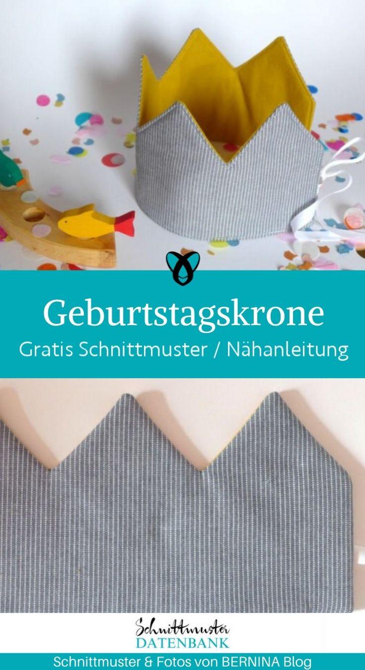 Geburtstagskrone Für Kinder Für Erwachsene Krone Jubiläum Feiern kostenlose Schnittmuster Gratis Nähanleitung König Königin
