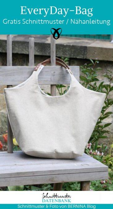 Handtasche Shopper für jeden Tag geräumige Tasche Damenhandtasche kostenlose Schnittmuster Gratis-Nähanleitung