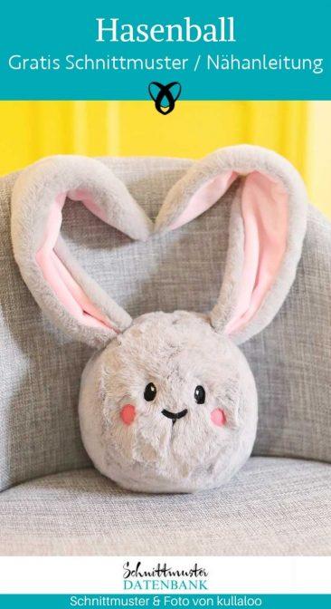 Hasenball Kuscheltier Kinder Spielzeug Nähen für Kinder Hase kostenlose Schnittmuster Gratis-Nähanleitung