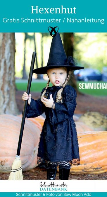 Hexenhut Verkleiden Fasching Kinder Hexe Zauberer kostenlose Schnittmuster Gratis-Nähanleitung