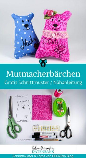 Mutmacherbärchen Tröster Stofftier Für kinder Plüschtier Glücksbringer kleine Geschenke kostenlose Schnittmuster Gratis-Nähanleitung