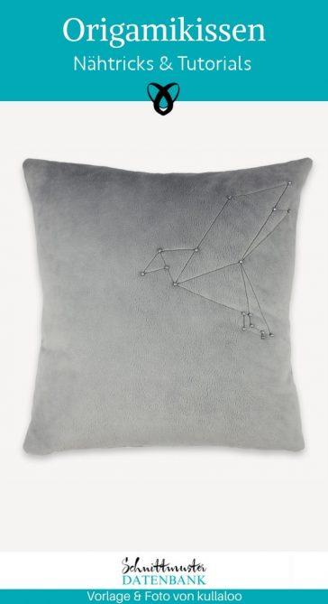 Origami Kissen für Zuhause gemütlich Sofa Couch Innendekoration Applikation kostenlose Schnittmuster Gratis-Nähanleitung