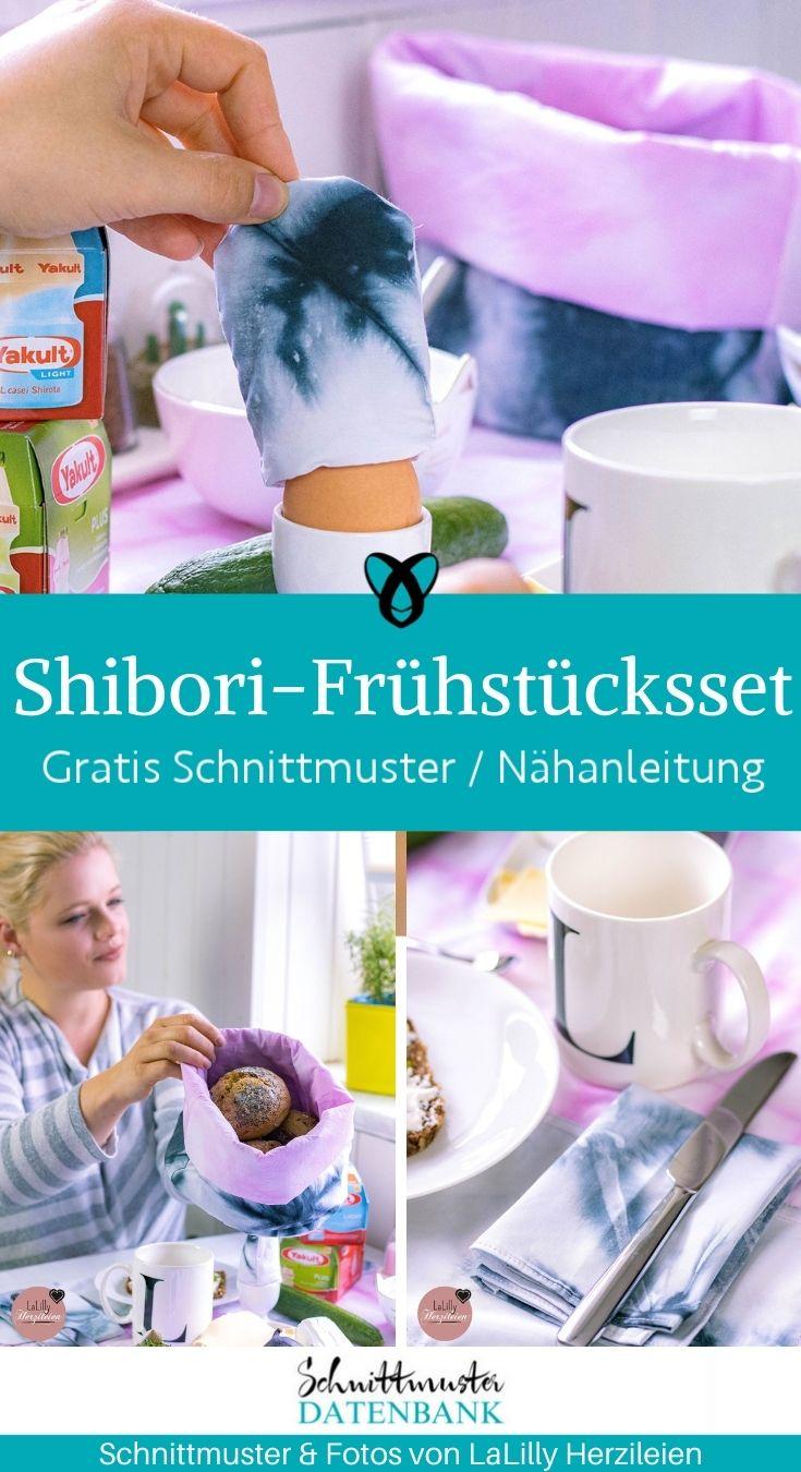 Shibori Frühstücksset Brotkorb Eierwärmer Bestecktasche für zuhause Frühstück gedeckter Tisch kostenlose Schnittmuster Gratis-Nähanleitung