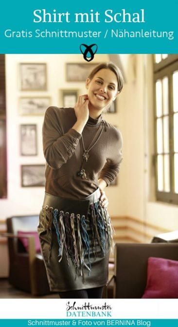 Shirt mit Schal Damenpullover Halstuch Nähen für Damen kostenlosen Schnittmuster Gratis-Nähanleitung Oberteil Shirt