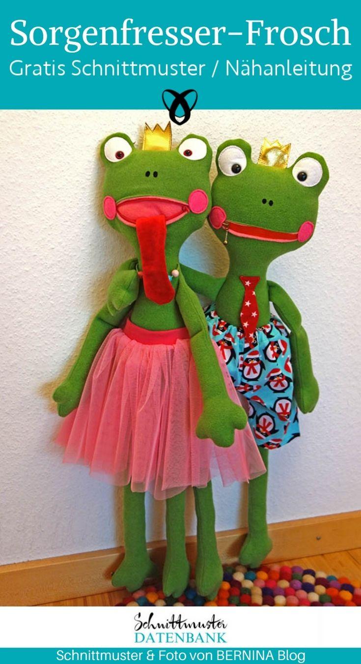 Sorgenfresser Frosch Kuscheltier für Kinder Spielzeug selber nähen kostenlose Schnittmuster Gratis-Nähanleitung