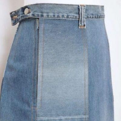 Upcycling Jeansrock Bahnenrock Damenrock Nähen für Frauen Jeans Nachhaltigkeit kostenlose Schnittmuster Gratis-Nähanleitung