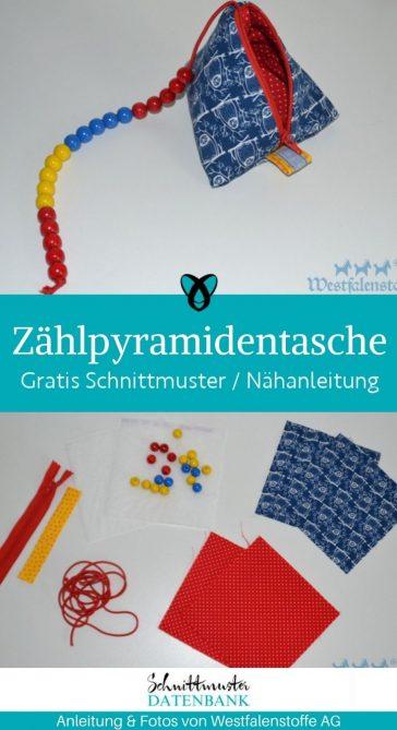 Zählpyramidentasche Zählen lernen Nähen für Kinder Spielen Lernen Lernspiel kostenlose Schnittmuster Gratis-Nähanleitung