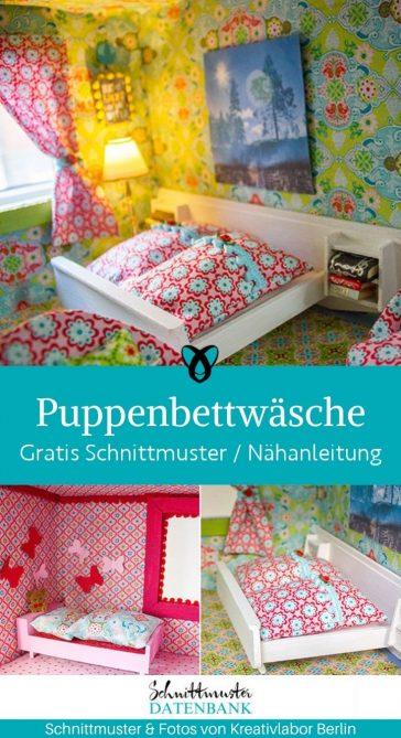 Bettwäsche Puppenhaus Spielen Spielhaus Kinder Spielzeug kostenlose Schnittmuster Gratis-Nähanleitung