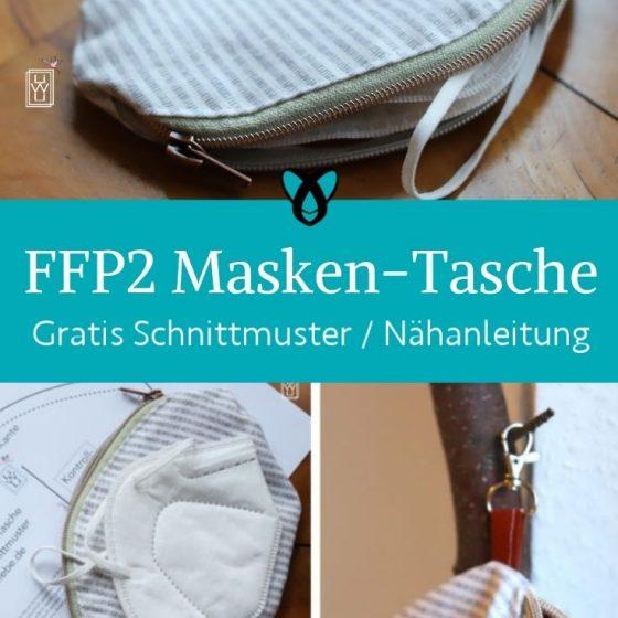 FFP2 Masken Tasche Corona Mundschutz Etui Mund-Nasen-Maske Aufbewahrung Täschchen Covid 19 Lockdown Aerosole kostenlose Schnittmuster Gratis-Nähanleitung