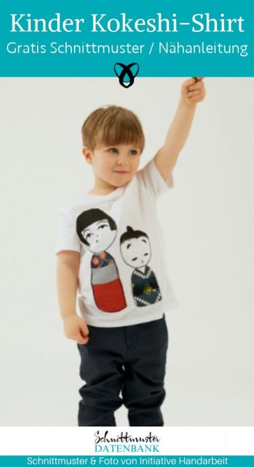 Kinder Kokeshi Shirt Applikation Verschönern Tutorial Japanische Figuren kostenlose Schnittmuster Gratis-Nähanleitung