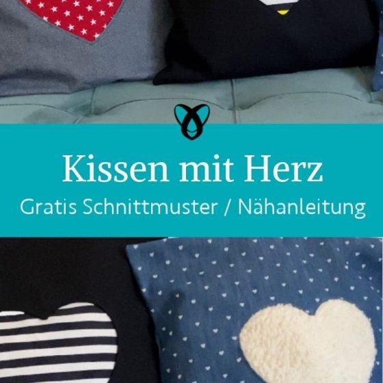 Kissen mit Herz Einsatz Nähen für Zuhause Bequem einfache nÄhprojekte kostenlose Schnittmuster Gratis-Nähanleitung