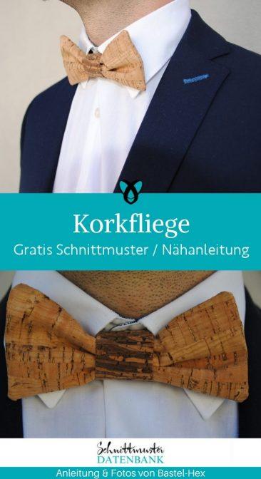Korkfliege Fliege Herren accessoire Alternative Krawatte Halsschmuck Anzug Ausgehen fein kleiden kostenlose Schnittmuster Gratis-Nähanleitung
