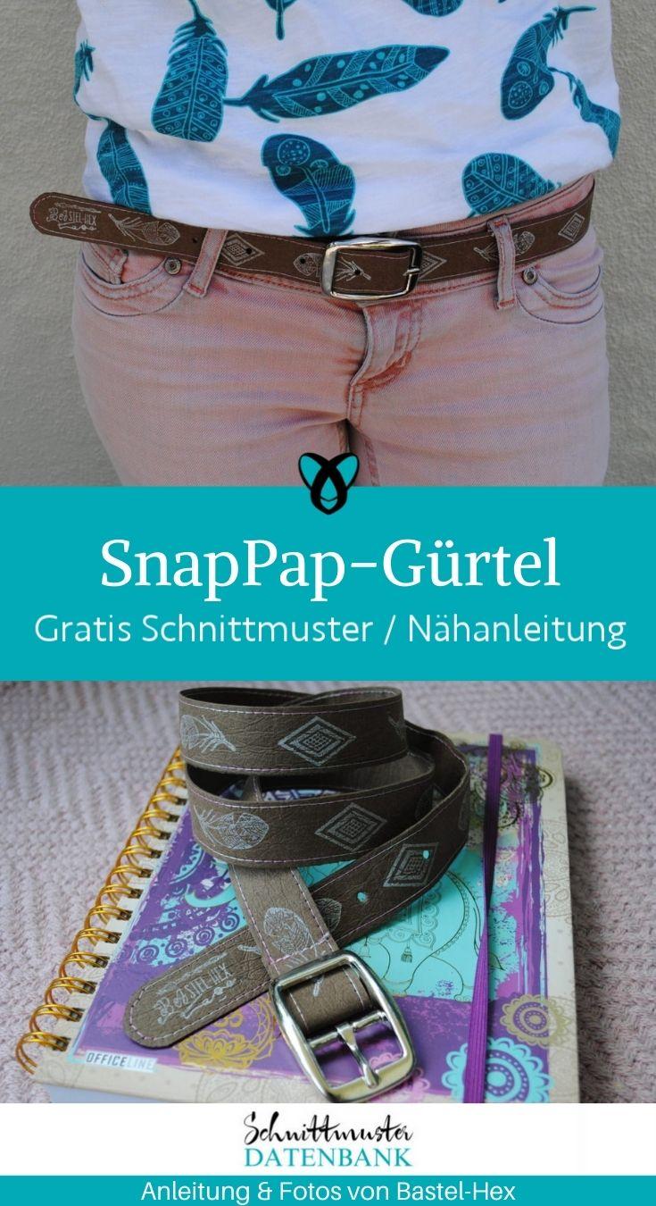 Ledergürtel SnapPap Accessoires Männer Frauen kostenlose Schnittmuster Gratis-Nähanleitung