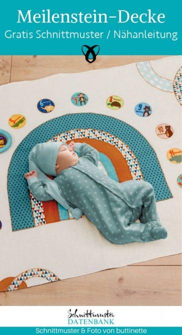 Meilenstein Decke Babydecke Krabbeldecke für Fotos Entwicklungsschritte Baby erstes Jahr Geschenke zur Geburt kostenlose Schnittmuster Gratis-Nähanleitung