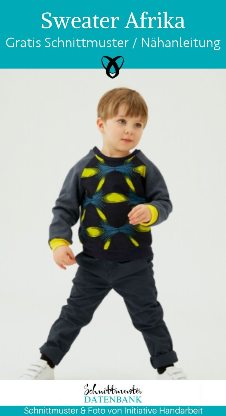 Sweater Kinder Pullover Raglanpullover Shirt Nähen für Kinder kostenlose Schnittmuster Gratis-Nähanleitung