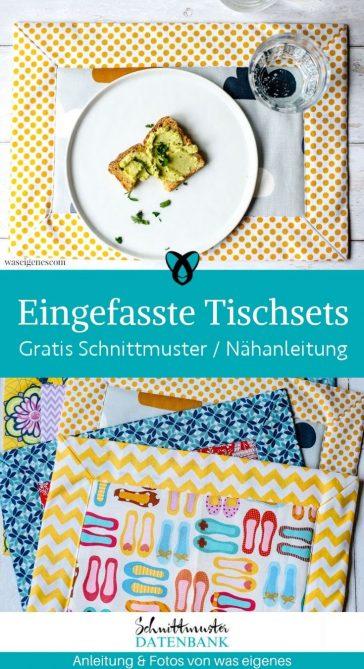 Tischsets eingefasst Briefecke gedeckter Tisch Essen Dekoration Nähen für ZUhause kostenlose Schnittmuster Gratis-Nähanleitung
