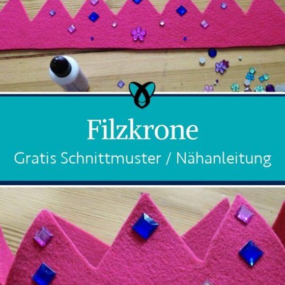Filzkrone Prinz Prinzessin Koenig Koenigin Verkleiden Fasching Verkleidung kostenlose Schnittmuster Geburtstag gratis naehanleitung