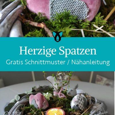 Herzige Spatzen Fruehlingsdeko Ostern Dekoration fuer Zuhause kostenlose Schnittmuster Gratis Naehanleitung Naehidee