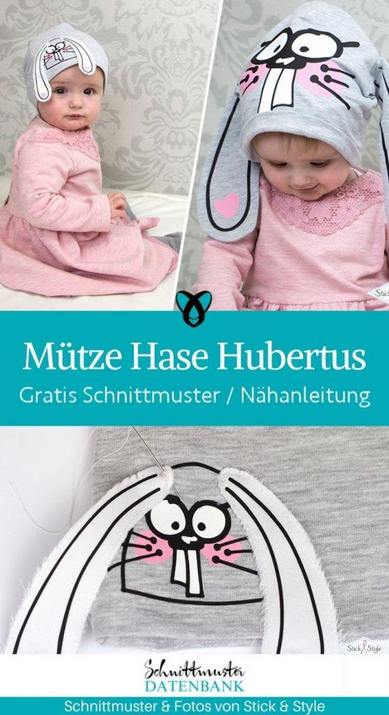 Muetze hasenmuetze hubertus hase ostern niedlich kindermuetze babymuetze kostenlose schnittmuster gratis naehanleitung