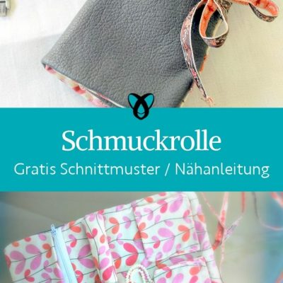 Schmuckrolle Etui Schmucktasche aufbewahrung schmuck ketten ringe geschenke kostenlose schnittmuster gratis naehanleitung