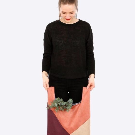 Tasche Einkaufstasche shoppingbag patchwork diagonal FRAU TASHA coole tasche kostenlose schnittmuster gratis naehanleitung